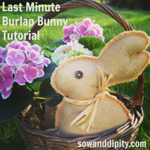 Burlap bunny in a basket