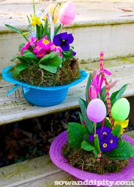 Easter Bonnet Planters