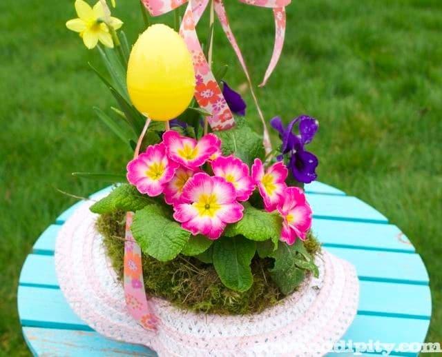 Easter Bonnet Hanging Baskets