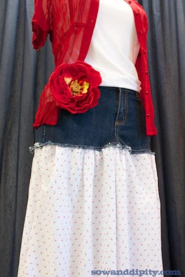 Recycled denim skirt idea