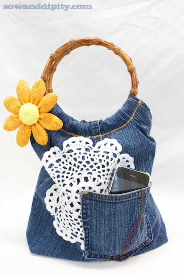 doily and recycled denim purse