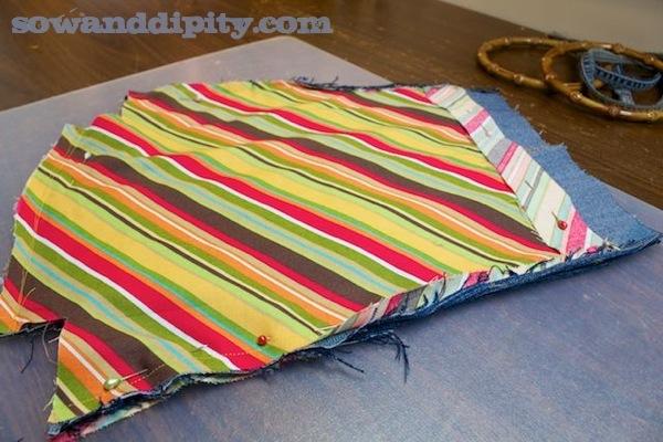 pattern pieces for denim bag