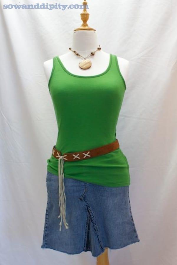recycled denim mini skirt