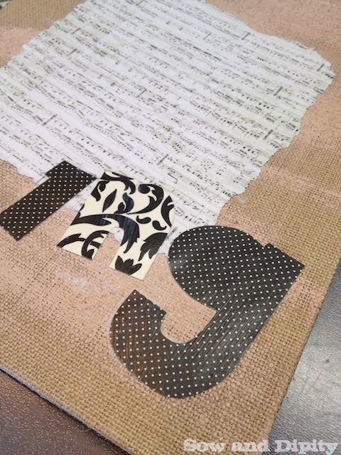 mod podge on to burlap canvas