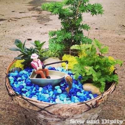 Gone Fishing Mini Garden & Gardening Gifts for Dad -