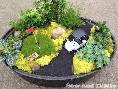 Mini garden golf green in a roasting pan