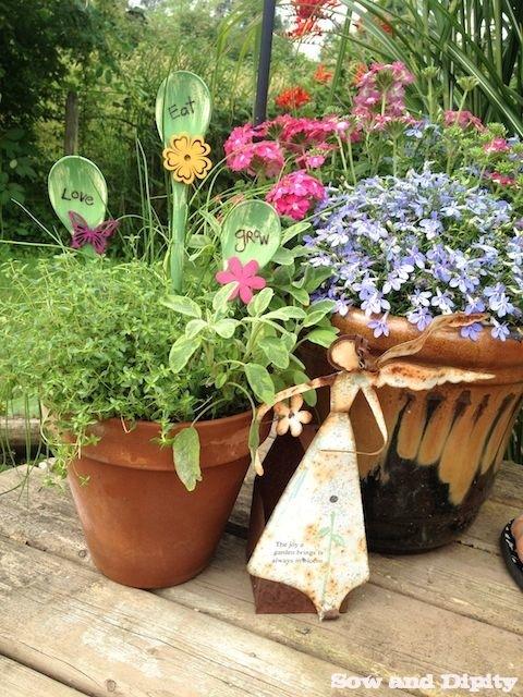 Wooden spoon plant picks