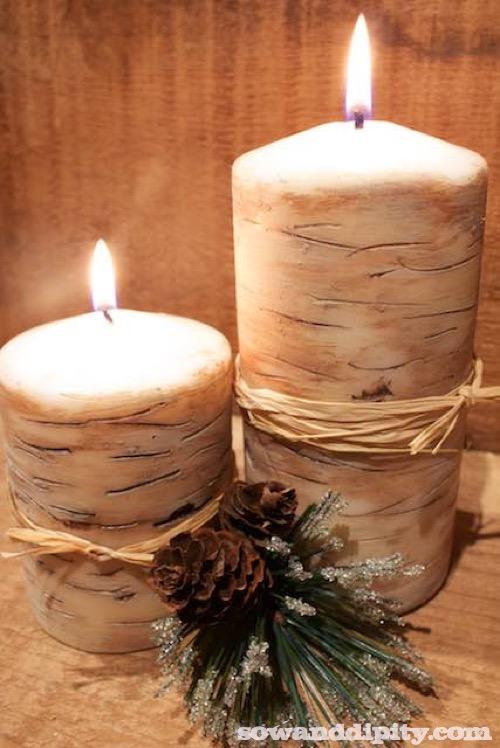 Faux Birch Candles