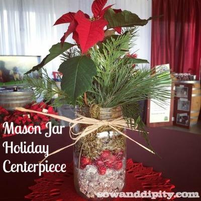 Holiday mason jar centerpieces for Christmas table decorations using mason jars