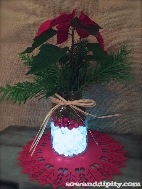 Holiday mason jar centerpieces