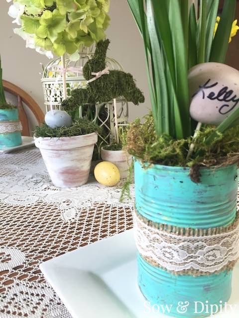 Tin can planters for spring